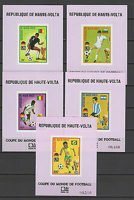 Football Soccer World Cup 1974 Burkina Faso set of 5 s/s imperf. MNH