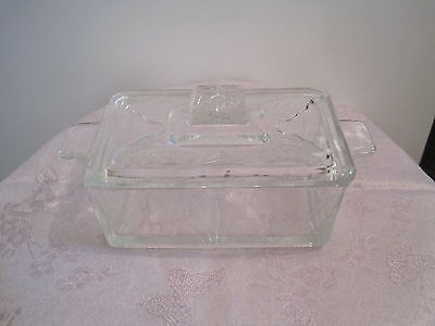 Art Deco Clear Pressed Glass lidded Butter Dish / tub  Vintage Kitchen