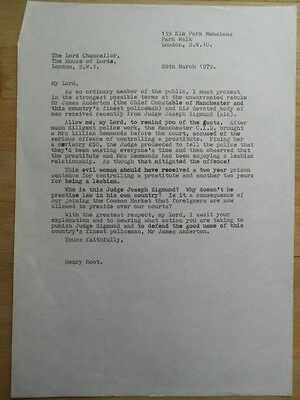 Henry Root original carbon copy letter to House Of Lords (police) 1979 funny :-)