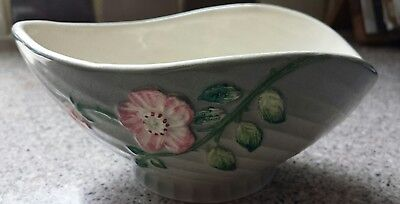 Vintage Shorter & Son shaped ribbed bowl in grey with pink flower