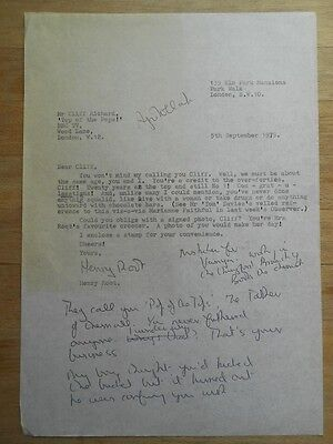 Henry Root original carbon copy of letter to Cliff Richard 1979 annotated, funny