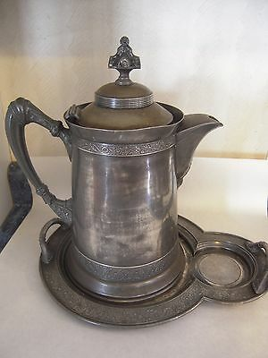 Antique Reed & Barton Triple Plate Ice Water Pitcher & Tray Pelton Bros Co