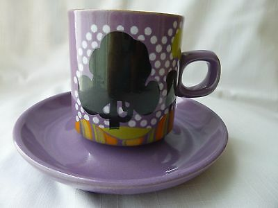 Denby Trees Coffee Cup & Saucer Rare Pattern 1972