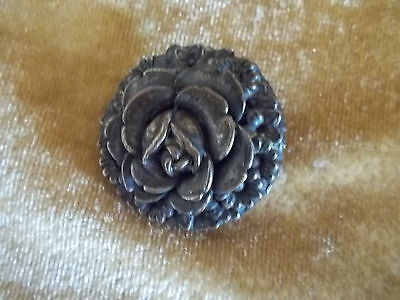 Vintage Sewing Item Collectible Metal Rose Shaped Button