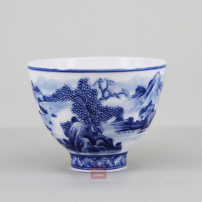 Hand Painted Landscape Chinese handmade Blue and white porcelain tea cup 120cc