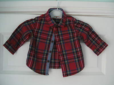 Long Sleeved Checked Shirt in Red by Next (UK Ages 3-6 Months)