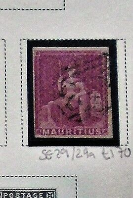 1858 QV MAURITIUS SG29/29a 9D MAGENTA FINE USED WITH LIGHT CANCEL CAT £170