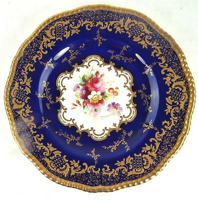 ANTIQUE COALPORT PORCELAIN DESSERT PLATE 2289 BLUE GILT ENAMEL e