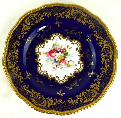ANTIQUE COALPORT PORCELAIN DESSERT PLATE 2289 BLUE GILT ENAMEL f
