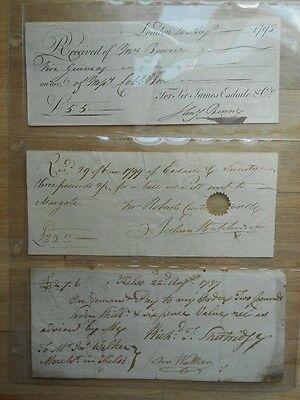 3 x antique hand written receipts from 1787, 1793 etc