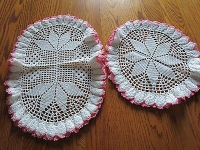 """2 Vintage Hand Crochet Pink Ruffled Edge  Doilies~ 12"""" Round  & 17"""" Oval"""