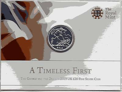 The Royal Mint 2013 George and the Dragon  £20 Fine Silver Coin.