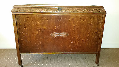 large antique wooden chest box on small wheels