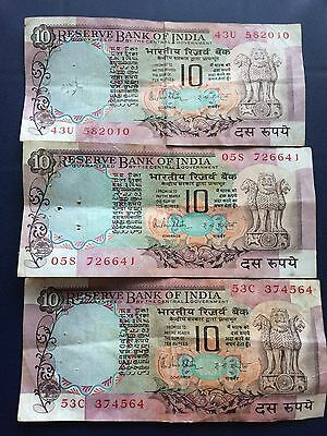 "Banknoten für Liebhaber ,""BANK of INDIA "" 3x10 Rupees"