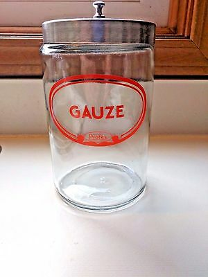 Vintage PROFEX Gauze Apothecary Medical Glass Jar, Doctor's Office