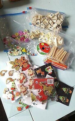 large bundle of craft supplies. embellishments. Christmas. scrabble letters
