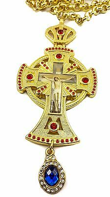 Pectoral Cross Red Zircons Crystallized Elements Christian Priest Jesus Crucifix