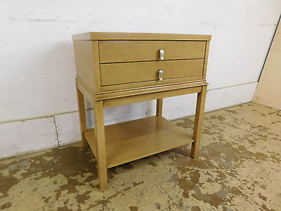 Mid Century Modern Nightstand Side Table w Drawer Blond Mahogany Tear Drop Handl