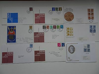 Collection (9x) of GB Definitve FDC. 1975 to 1985 First Day Covers