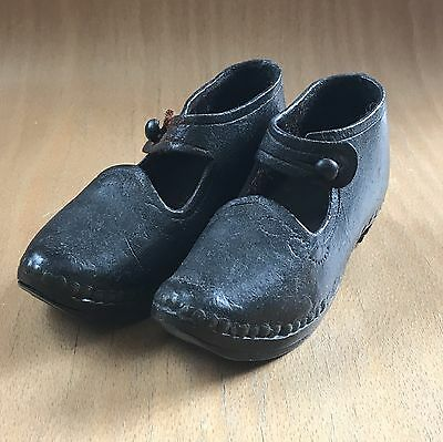 Antique Genuine Leather Children's Shoes/Clogs with Wooden Sole