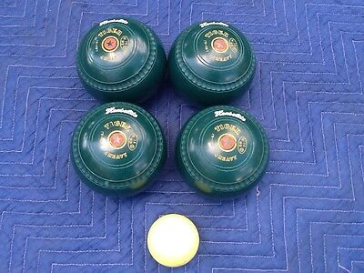 Henselite Tiger Bowls. Size 4 (Heavy) Green. Plus Jack. Used.