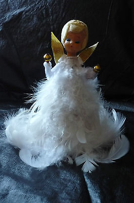 Vintage White Feather Angel Tree Topper Decoration Made In Japan In G.c.