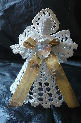 Vintage Stiffened Crocheted White Angel W/ Gold Bow-Tree Topper Decoration In Gc