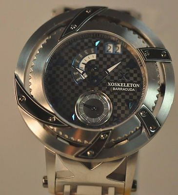 New Mens Xoskeleton Barracuda Day Date Black Dial Electric Blue Markers Watch