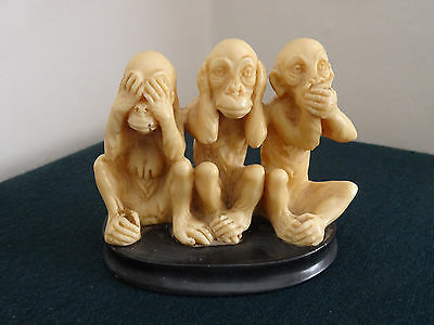"Chinese/japanese Three Wise Monkeys Resin Black Mount 3.5"" High Ornament"