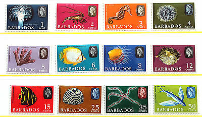Barbados 1966 Set to 50c – VERY lightly Mounted Mint (R1)