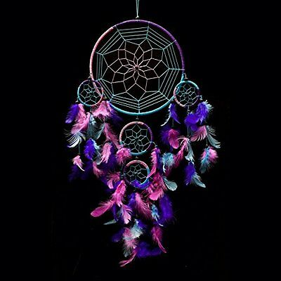 "Dream Catcher Handmade Traditional Aqua Blue, Pink & Purple 10.5"" Diameter & 27"""