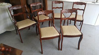 6 1940`s TELL CITY DUNCAN PHYFE ROSE CARVED BACK MAH. DINING ROOM CHAIRS