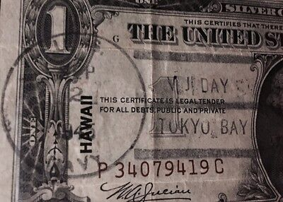 1935A -$1 Pcgs  Hawaii Silver Certificate Brown Seal Vj Day Tokyo Bay Postmark