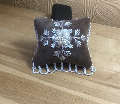 Victorian Hand Made Beaded Cushion c1850 Maybe For Hat Pins