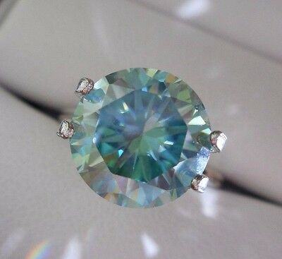 HYPNOTIC! 3.64 ct VVS1 10.17 mm FANCY BLUE PEACOCK LOOSE ROUND MOISSANITE