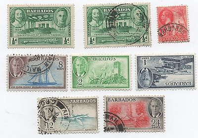 Barbados George VI stamps including 1939 Tercentenary 1/2d mint MH & used pair