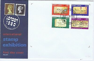 St Lucia 1980 London Stamp Exhibition first day cover. Postal history theme
