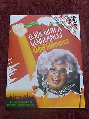 """Dame Edna Everage - Barry Humphries """"Back With A Vengeance!""""  - 1987 programme"""