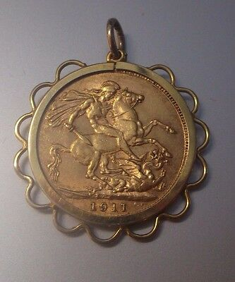 Full Sovereign 22ct Gold Coin Dated 1911 & Mount/Pendant Weight 9.63g Stamped