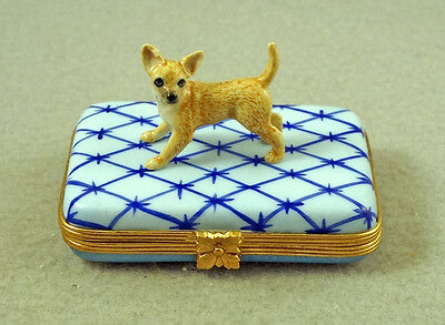NEW FRENCH LIMOGES TRINKET BOX CUTE CHIHUAHUA DOG Puppy ON BLUE RUG