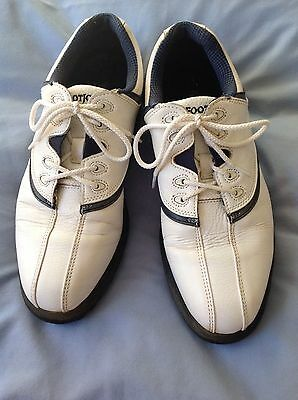 Ladies Footjoy white golf shoes with blue trim size 5 good condition soft spikes