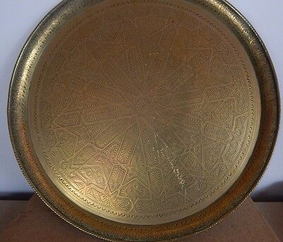 39Cm Dia Antique Ottoman Indian Persian Qajar Mamluk Style Engraved Brass Tray