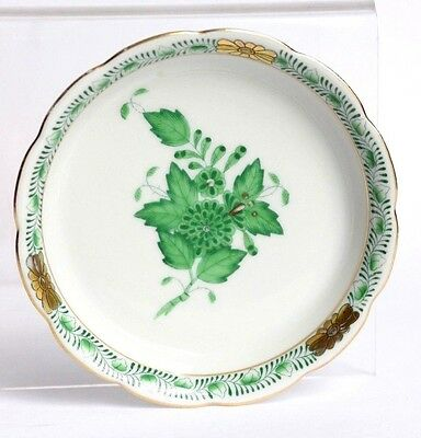 Hungary Herend Porcelain Green Gilt Flower Dish VGC Handpainted Small Wavy Edge