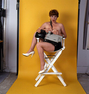 """WF66 VINTAGE 80s PINUP WOMAN 2"""" TRANSPARENCY Model In A Directors Chair =BUSTY="""