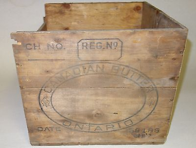 Antique Vintage Wooden 56 Pound Butter Box Crate Ontario Canada