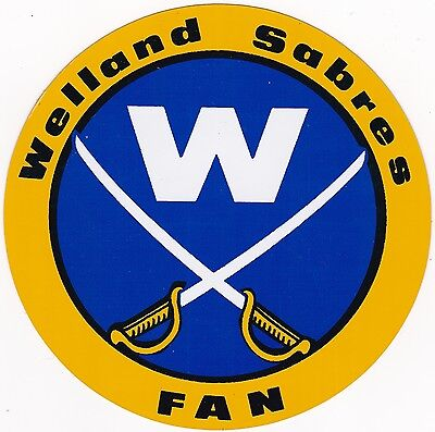 Welland Sabres Fan Junior A Hockey Sticker From 1970 To 1976 Vintage