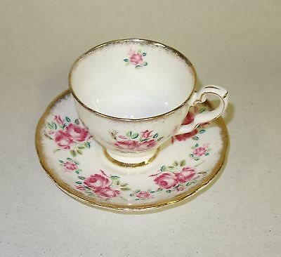 Vintage Royal Stafford Bone China Tea Cup & Saucer Red Flowers #1843 England