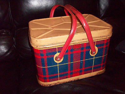 Vintage Scottish Tartan Basket Metal Tin Red Plaid Picnic Basket Red Handles
