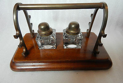 Vintage Victorian Double Inkwell and pen rest set .