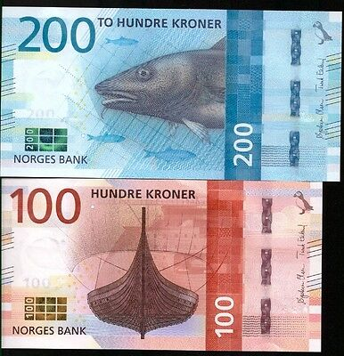 Norway 100 And 200 Kroner P-New 2017 (2016) Unc !!!available!!!